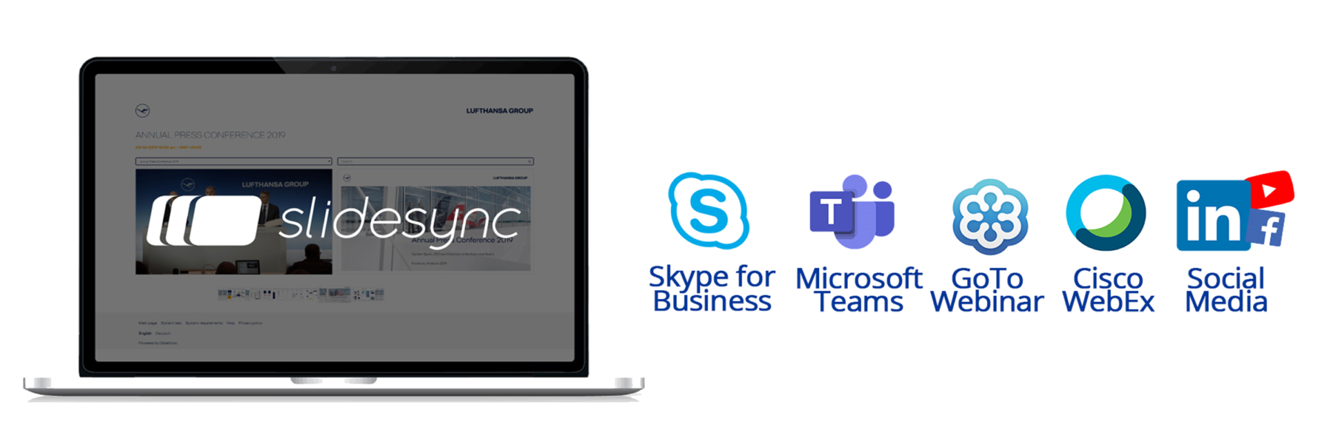 MES can integrate SlideSync with Skype, Microsoft Teams, GoTo Webinar, Cisco WebEx and social media platforms.